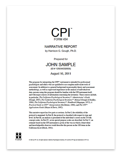 California Psychological Inventory Cpi  Narrative Report