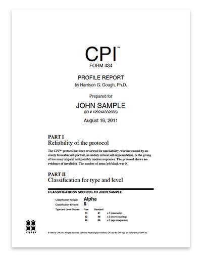California Psychological Inventory Cpi  Narrative Report